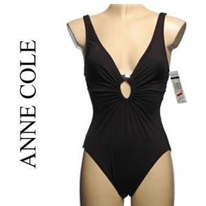 NWT ANNE COLE BLACK 1 PIECE SWIMSUIT
